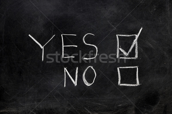 ストックフォト: チェック · はい · 黒 · 黒板 · コピースペース