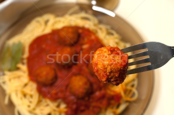 Spaghetti and Meatballs Stock photo © dehooks