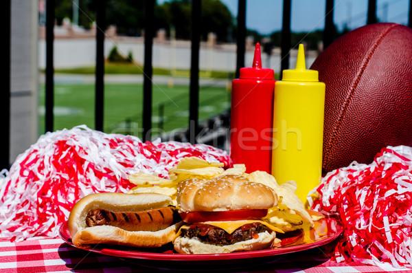Parti cheeseburger sosisli sandviç futbol futbol sahası Stok fotoğraf © dehooks