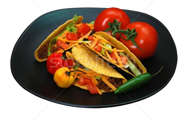 Tacos placa tomates pimientos aislado blanco Foto stock © dehooks