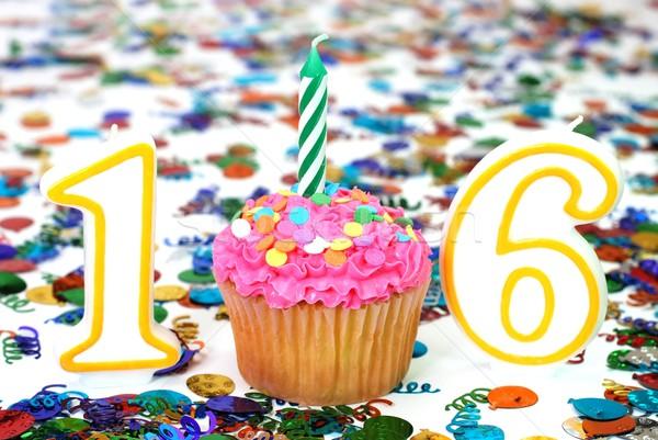 Célébration bougie nombre 16 amusement Photo stock © dehooks