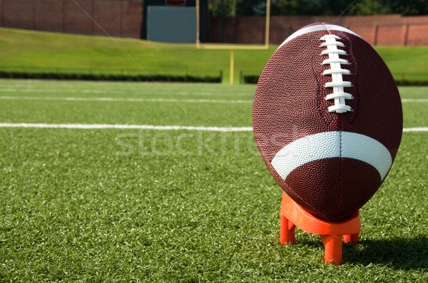 Closeup of American Football on Tee on Field Stock photo © dehooks