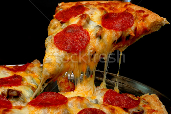 Pepperoni rebanada pizza todo tomates Foto stock © dehooks