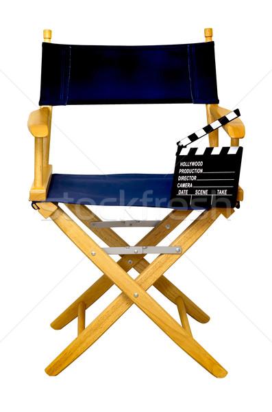 Sandalye yalıtılmış beyaz ahşap film Stok fotoğraf © dehooks