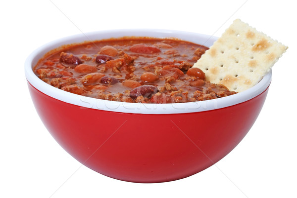 Chili with Beans and Cracker Stock photo © dehooks