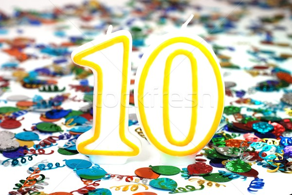 ünneplés gyertya szám 10 konfetti buli Stock fotó © dehooks