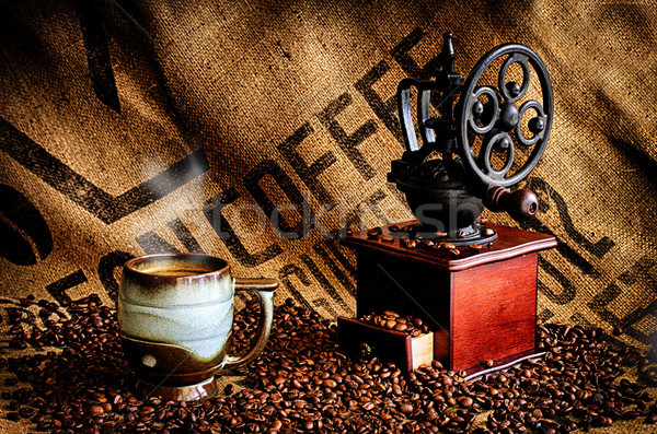 Coffee Beans and Grinder Stock photo © dehooks