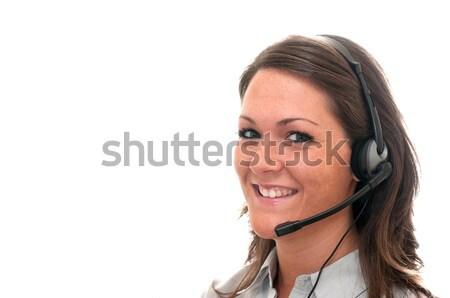 Service clients représentant casque isolé blanche espace de copie Photo stock © dehooks