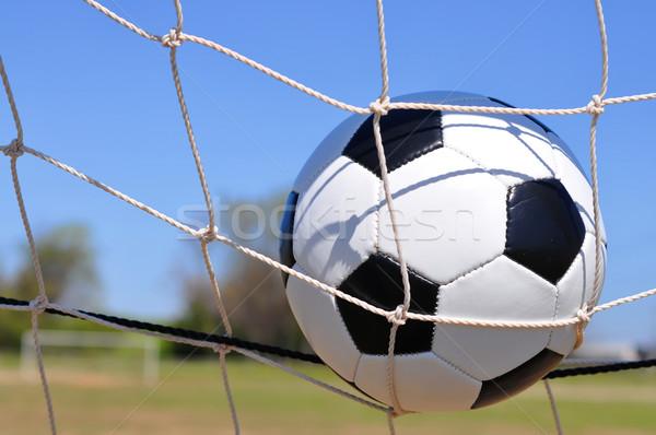 Soccer ball obiettivo primo piano net sport estate Foto d'archivio © dehooks