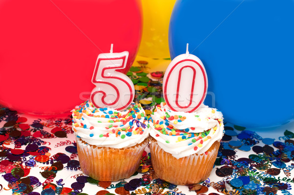 Viering ballonnen confetti aantal 50 Stockfoto © dehooks