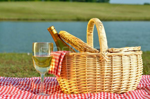 Piknik sepeti cam şarap şişesi beyaz şarap şarap Stok fotoğraf © dehooks