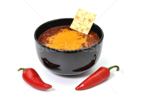 Chili ciotola formaggio rosso cayenne Foto d'archivio © dehooks
