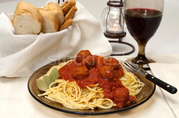 спагетти обеда чесночный хлеб лист Сток-фото © dehooks