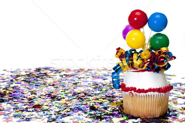 Odznaczony konfetti strony balony wstążka Zdjęcia stock © dehooks