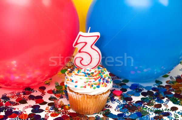празднования шаров конфетти числа счастливым Сток-фото © dehooks