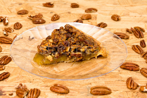 Pecan Pie Slice with Pecans Stock photo © dehooks