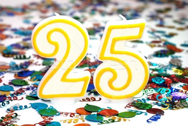 Kutlama mum numara 25 konfeti parti Stok fotoğraf © dehooks