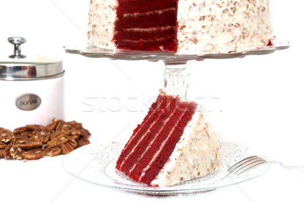 Slice of Red Velvet Cake Isolated Stock photo © dehooks