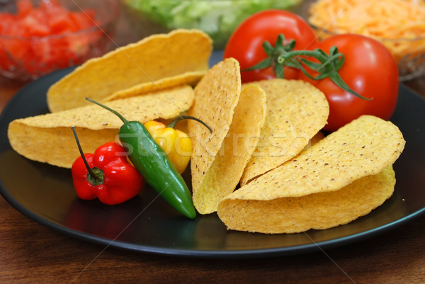 Tacos ingredientes conchas tomates pimientos Foto stock © dehooks