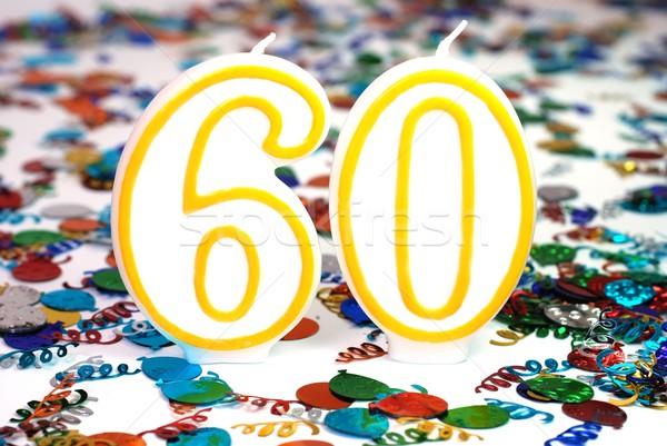 お祝い キャンドル 番号 60 紙吹雪 パーティ ストックフォト © dehooks