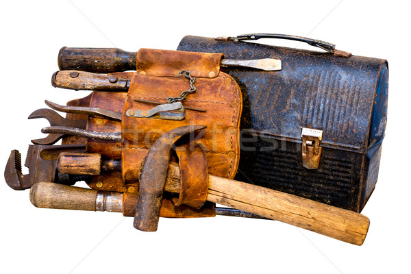 Vintage strumenti strumento cintura pranzo finestra Foto d'archivio © dehooks