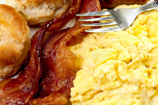 стране завтрак бекон Ломтики Сток-фото © dehooks