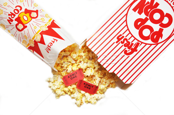 Foto stock: Pipoca · filme · bilhetes · caixa · cinema · saco