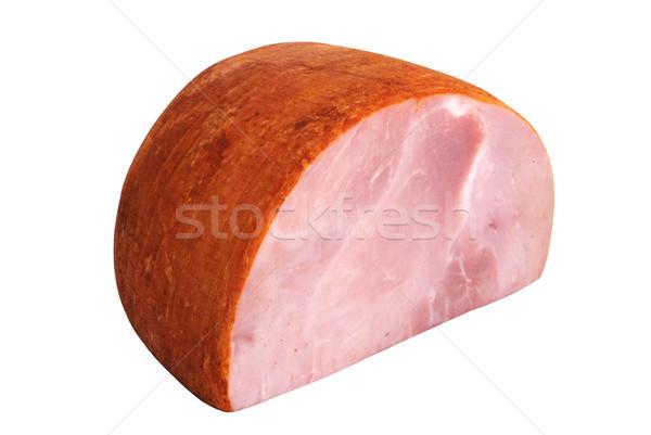 Stockfoto: Ham · geïsoleerd · witte · doorsnede · voedsel