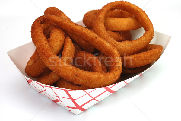 Cebolla anillos frito cesta aislado blanco Foto stock © dehooks
