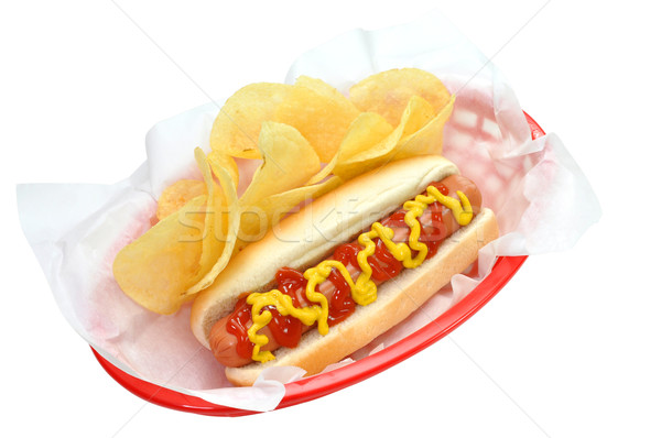 Hot Dog, Chips, Isolated, Clipping Path Stock photo © dehooks