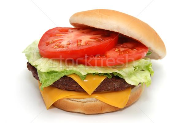 чизбургер изолированный белый продовольствие сыра жира Сток-фото © dehooks