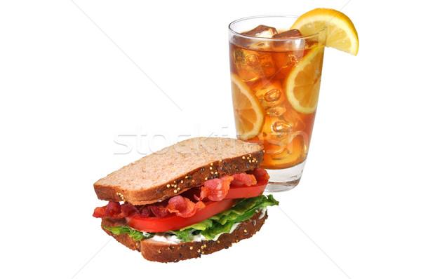 Blt sanduíche chá gelado isolado bacon Foto stock © dehooks