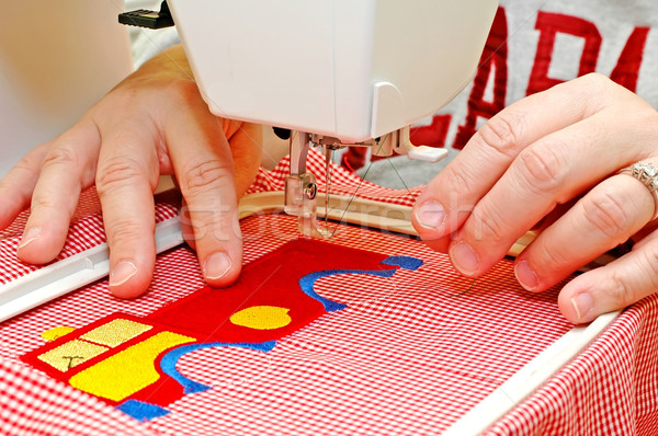 Coser mujer bordado máquina textura moda Foto stock © dehooks