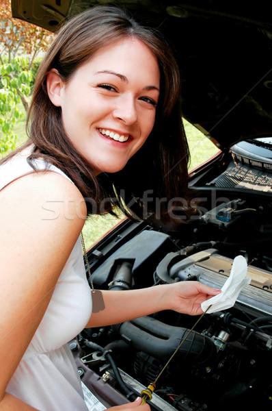 Nem srácok lány olaj szint autó Stock fotó © dehooks