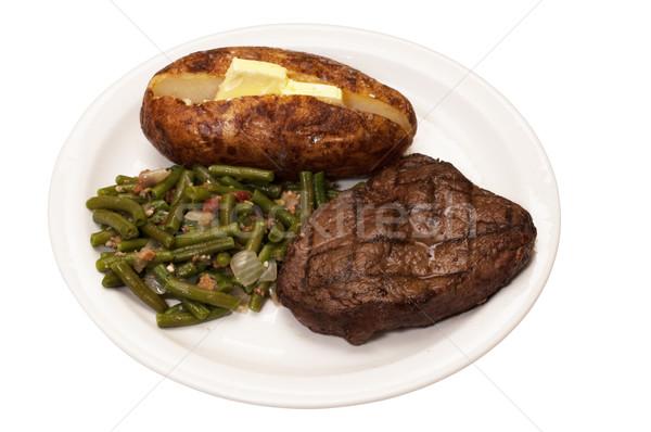 ステーキ ジャガイモ サヤインゲン サーロイン 孤立した ストックフォト © dehooks