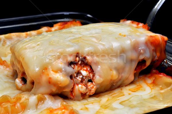 Primer plano rebanada cena pasta comida Foto stock © dehooks
