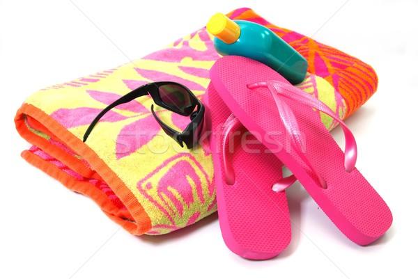 Playa toalla de playa gafas de sol protector solar aislado Foto stock © dehooks