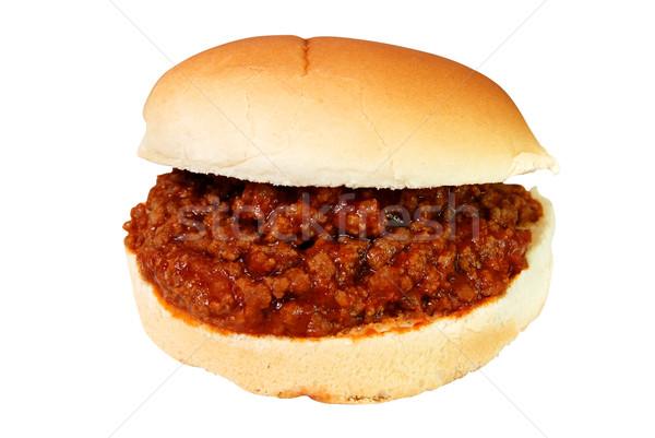 Szendvics izolált hamburger fehér vágási körvonal vacsora Stock fotó © dehooks