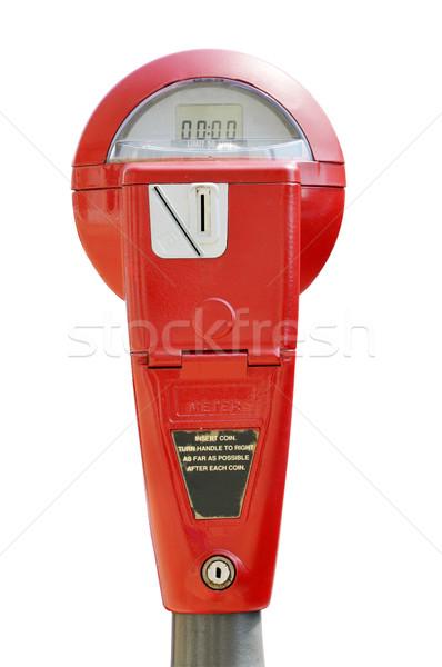 Piros parkolás izolált fehér vágási körvonal pénz Stock fotó © dehooks
