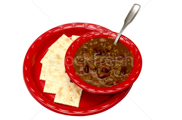 Chili with Crackers Isolated Stock photo © dehooks