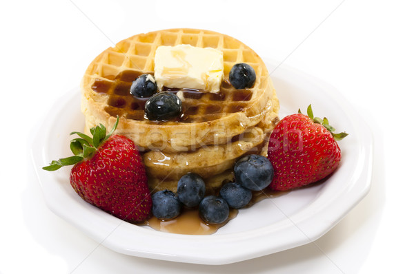 Breakfast with Waffles and Fruit Stock photo © dehooks