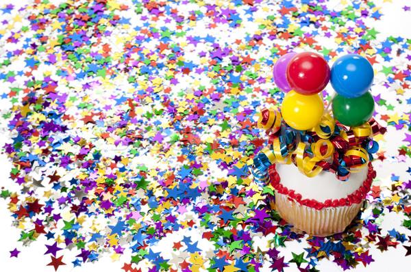 Confettis fête décoré ballons ruban Photo stock © dehooks