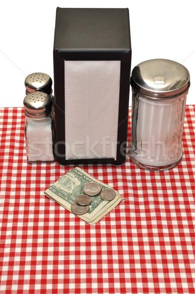 Wskazówka tabeli restauracji odizolowany biały Zdjęcia stock © dehooks