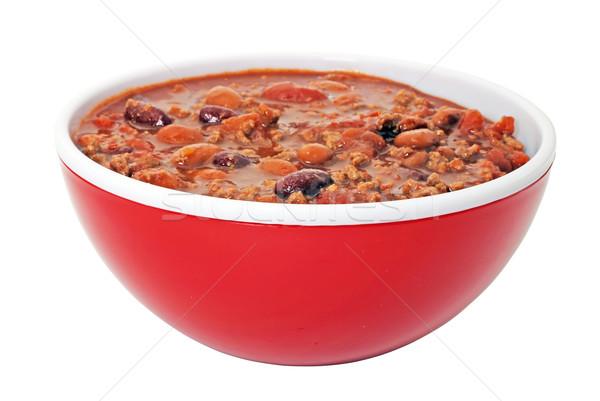 Tál chili izolált fehér piros hús Stock fotó © dehooks