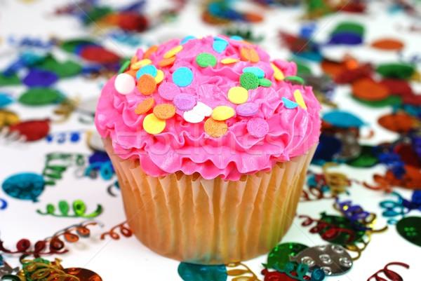 ünneplés minitorta konfetti jókedv rózsaszín cukor Stock fotó © dehooks