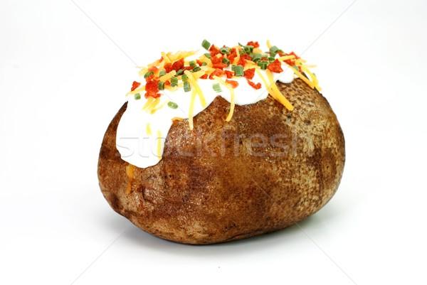 ストックフォト: ジャガイモ · 孤立した · バター · サワークリーム · チェダー