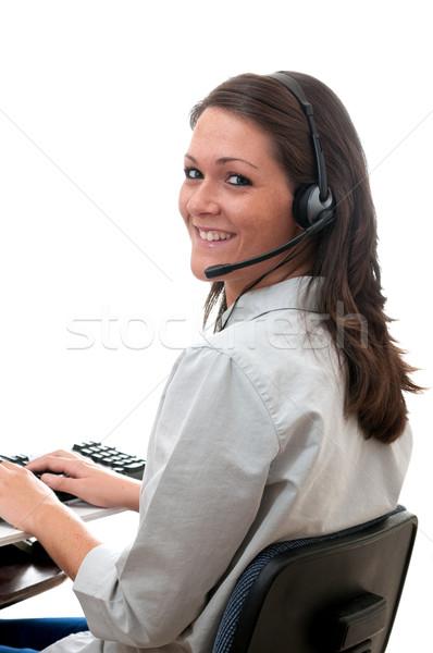 顧客服務 代表 耳機 計算機 孤立 白 商業照片 © dehooks