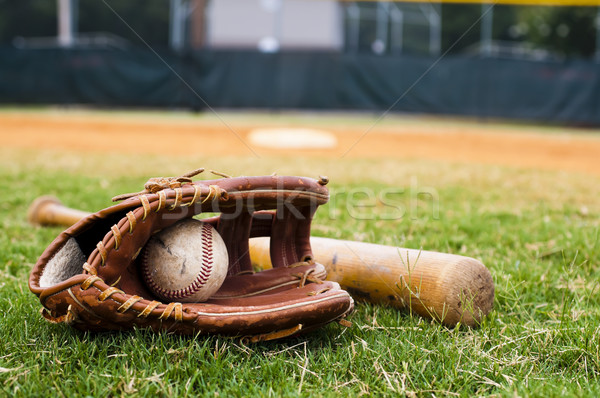 Old Baseball, Glove, and Bat on Field Stock photo © dehooks