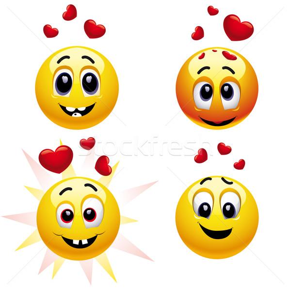 Stockfoto: Glimlachend · vallen · liefde · computer