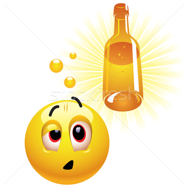Dronken glimlachend bal gezicht fles Stockfoto © dejanj01
